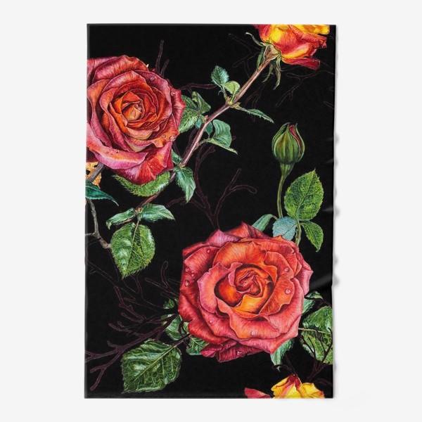 Полотенце «Узор из красных роз на черном фоне»