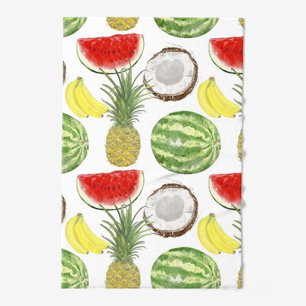 Полотенце «Фрукты . Ананас,арбуз,банан,кокос»