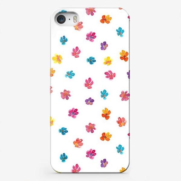 Чехол iPhone «Паттерн с акварельными цветами»