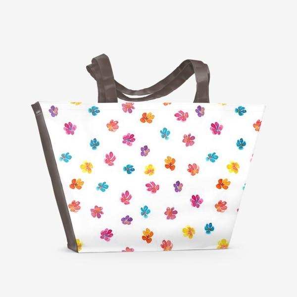 Пляжная сумка «Паттерн с акварельными цветами»