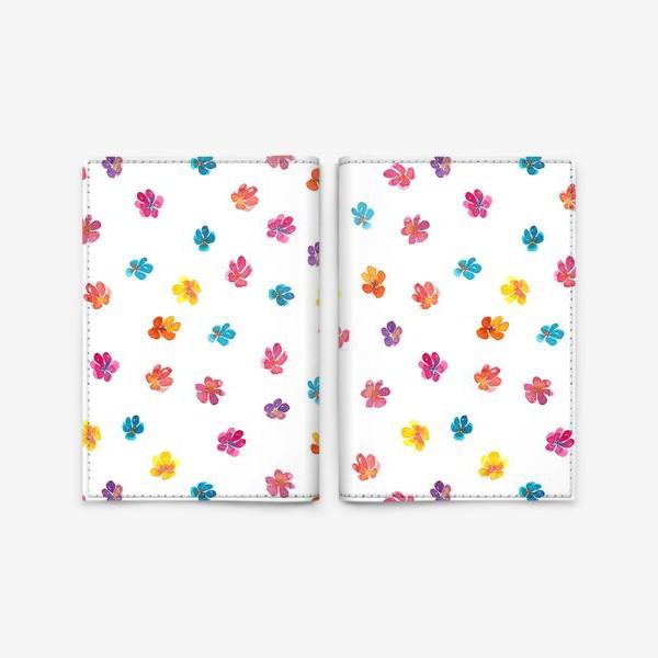 Обложка для паспорта «Паттерн с акварельными цветами»