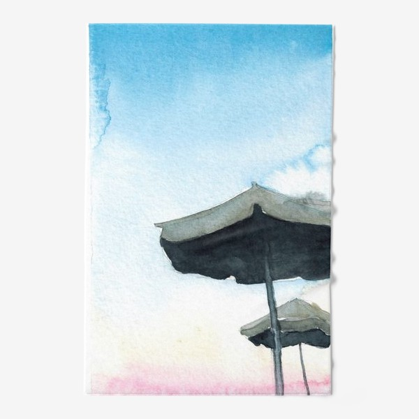 Полотенце «Зонтики на фоне закатного неба, акварель»