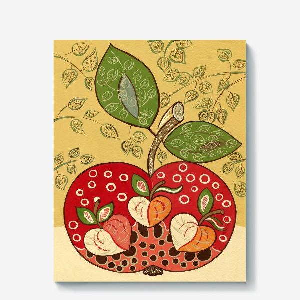 Холст «Декоративное красное яблоко»