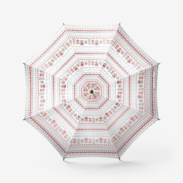 Зонт «Декоративный паттерн в скандинавском стиле с цветами и узорами»