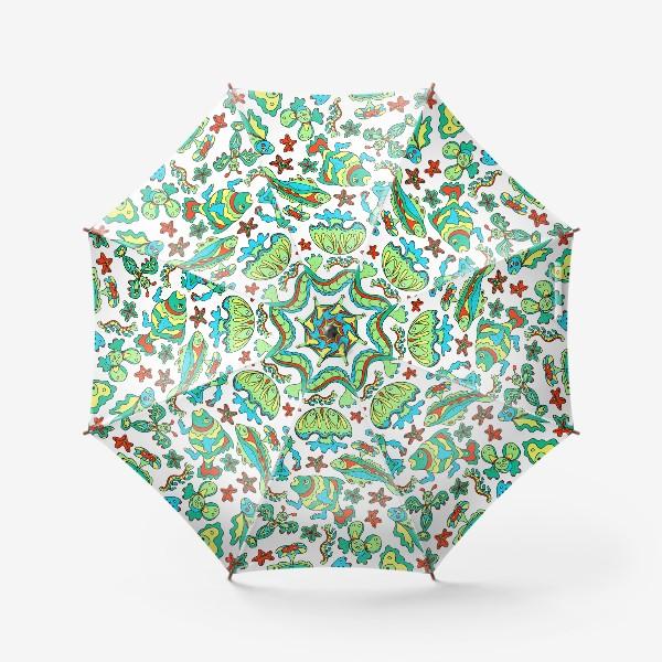 Зонт «Фантастические морские существа. Бесшовный паттерн.»
