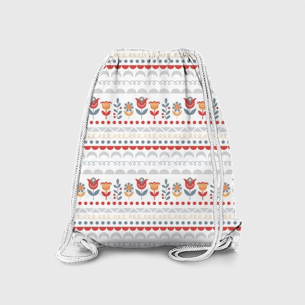 Рюкзак «Декоративный паттерн в скандинавском стиле с цветами и узорами»