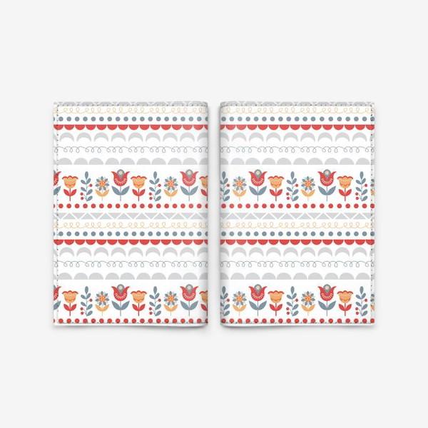 Обложка для паспорта «Декоративный паттерн в скандинавском стиле с цветами и узорами»