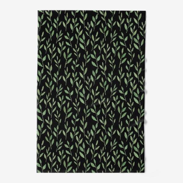 Полотенце «Паттерн веточки на черном фоне»