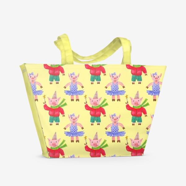 Пляжная сумка «Поросятки на карнавале жёлтый фон»