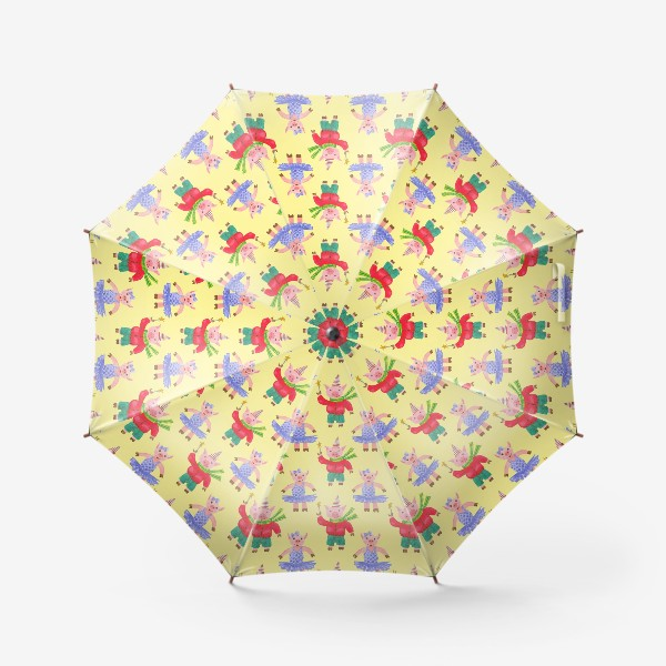 Зонт «Поросятки на карнавале жёлтый фон»
