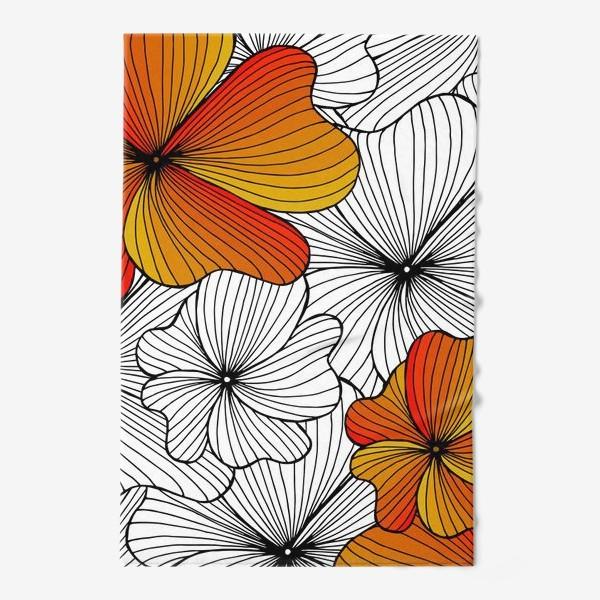 Полотенце «Осенние оранжевые цветы»