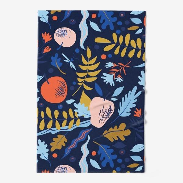 Полотенце «осенний паттерн с яблоками и цветами»