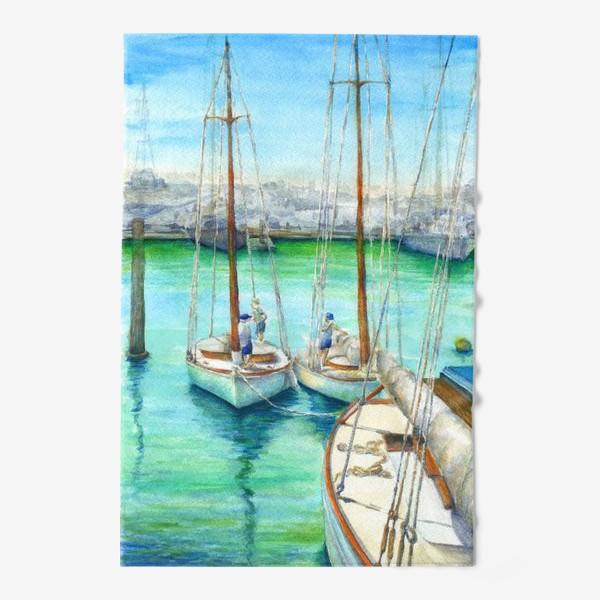 Полотенце «Море, лодки.»