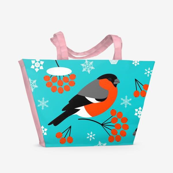 Пляжная сумка «Снегири (паттерн)»