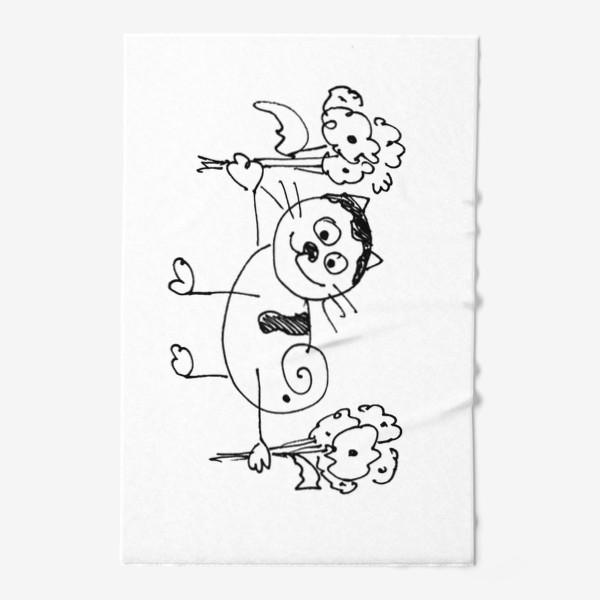Полотенце «Котик с цветами»