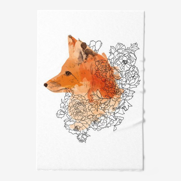Полотенце «Акварельная лиса в цветах»