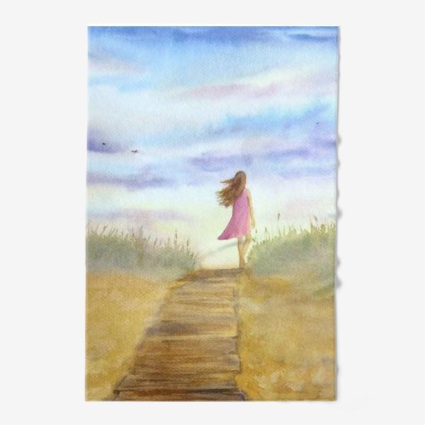 """Полотенце «""""Путь к себе"""". (Девушка идущая по пляжу на фоне заката). Картина акварель. Лето, море, отдых »"""