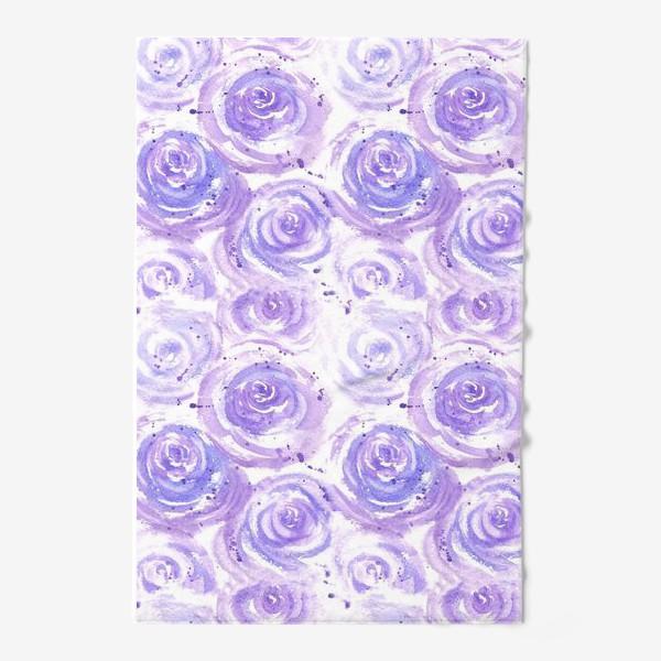 Полотенце «Фиолетовые розы. Акварельный цветочный абстрактный принт на белом фоне»