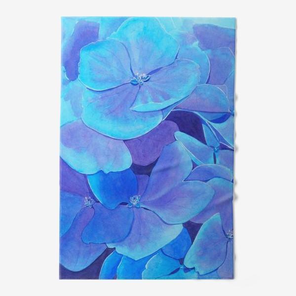 Полотенце «Цветы голубой гортензии, акварельный летний ботанический принт»