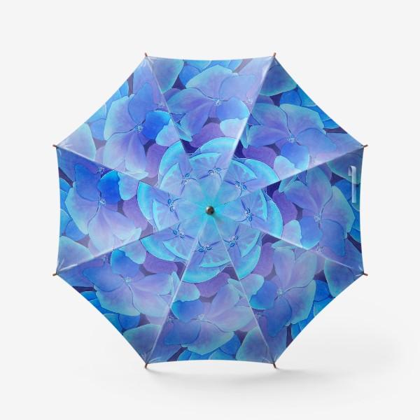 Зонт «Цветы голубой гортензии, акварельный летний ботанический принт»