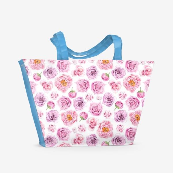Пляжная сумка «Узор с розовыми розами»