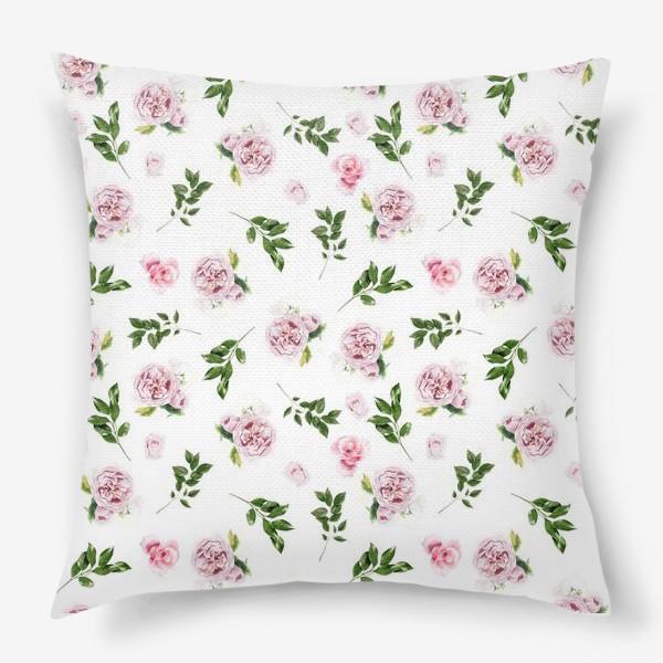 Подушка «Орнамент с розой Остин»