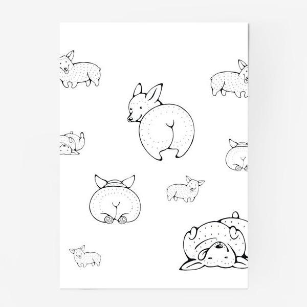 Постер «веселые корги»