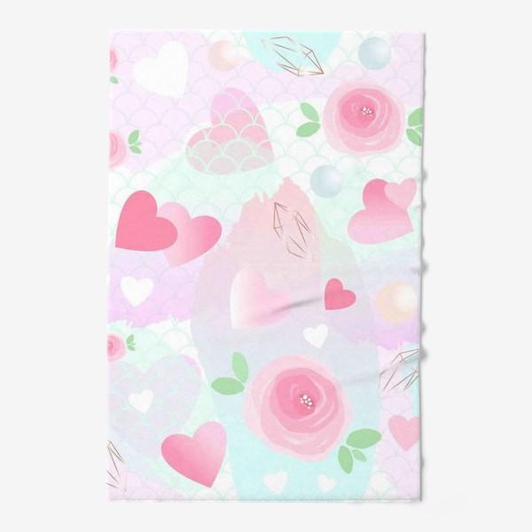 Полотенце «Розочки, сердечки, бусинки...»