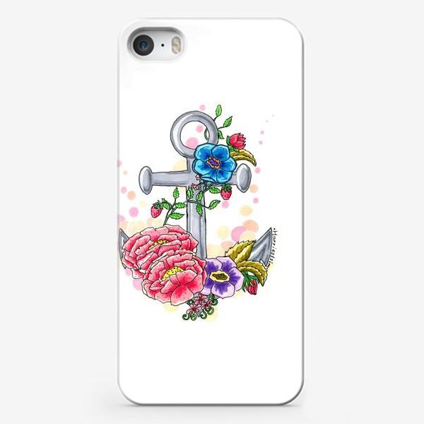 Чехол iPhone «Якорь в цветах»