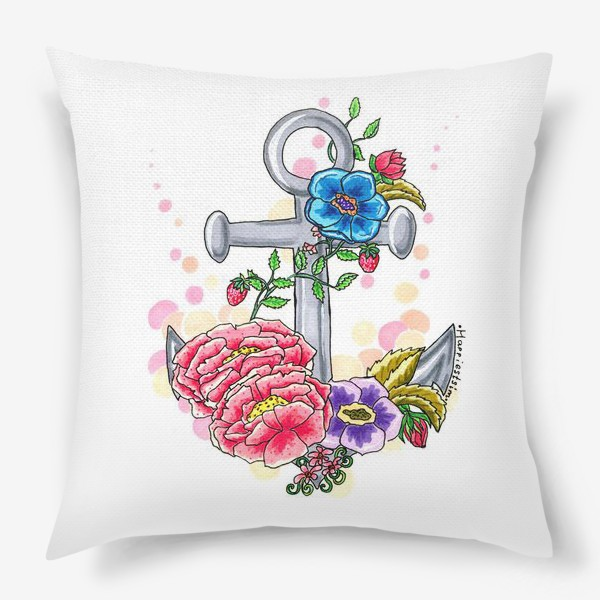 Подушка «Якорь в цветах»