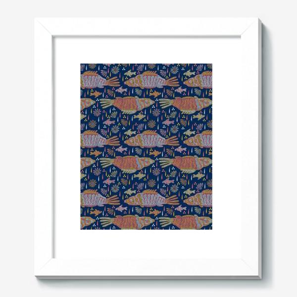 Картина «Рыбы и ракушки в ночной реке. Australian Aboriginal art»