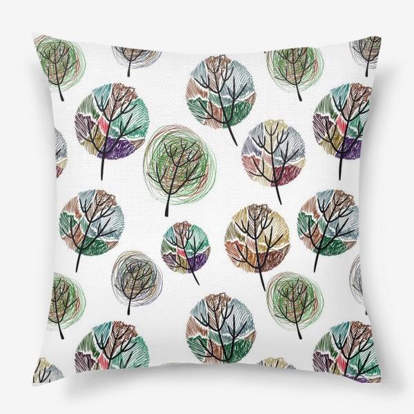 Подушка «Colored trees on a white background»