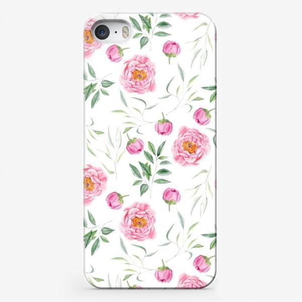 Чехол iPhone «Паттерн с акварельными пионами»