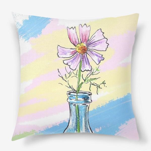 Подушка «Космея в вазе»