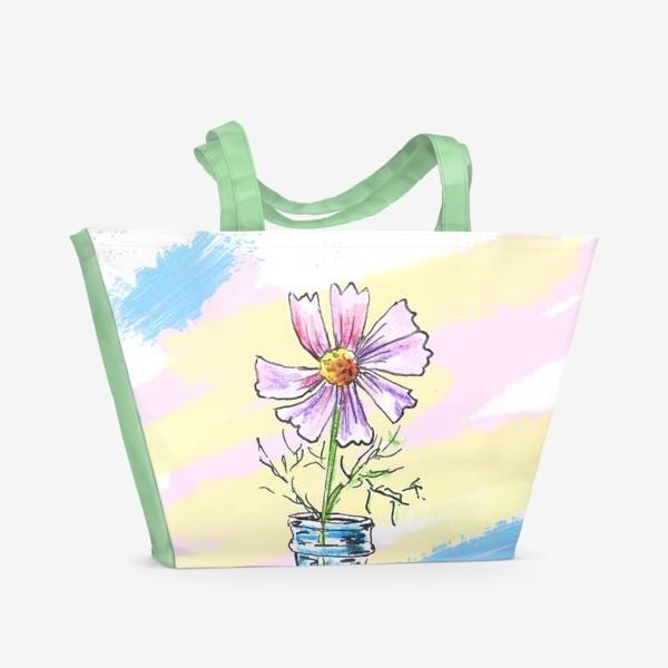 Пляжная сумка «Космея в вазе»