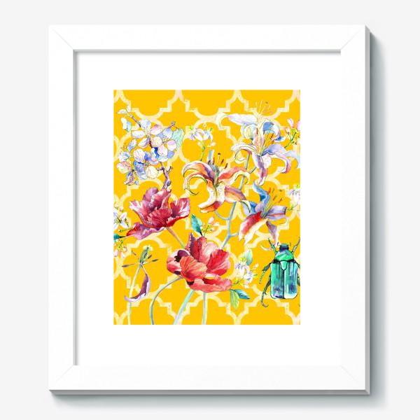 Картина «Цветочная композиция желтом фоне»