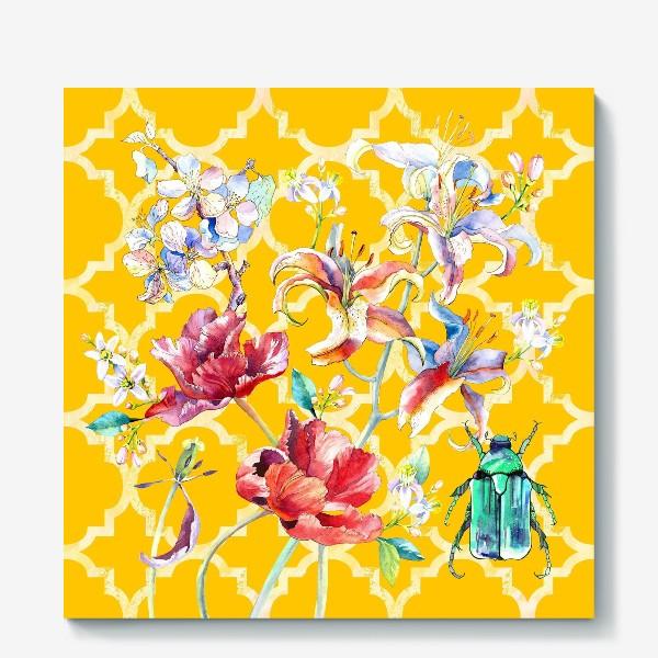 Холст «Цветочная композиция желтом фоне»