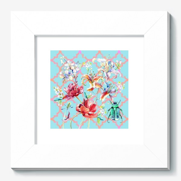 Картина «цветочная композиция. голубой фон»