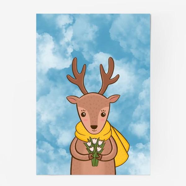 Постер «Олененок с букетом цветов»
