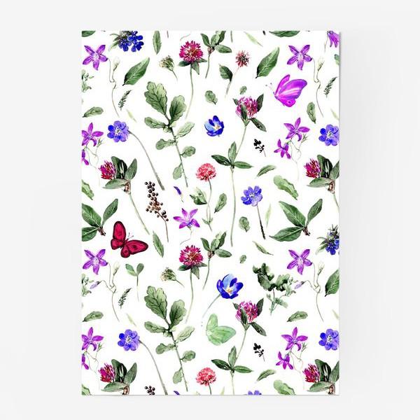 Постер «Цветочный паттерн с клевером и бабочками»