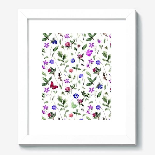 Картина «Цветочный паттерн с клевером и бабочками»