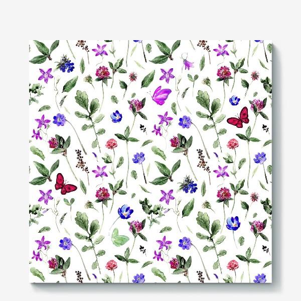 Холст «Цветочный паттерн с клевером и бабочками»
