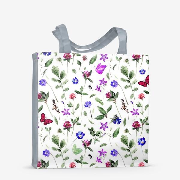 Сумка-шоппер «Цветочный паттерн с клевером и бабочками»