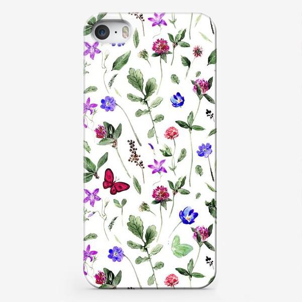 Чехол iPhone «Цветочный паттерн с клевером и бабочками»