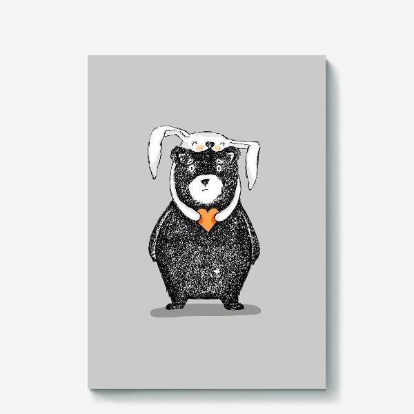 Холст «мишка-зайка»