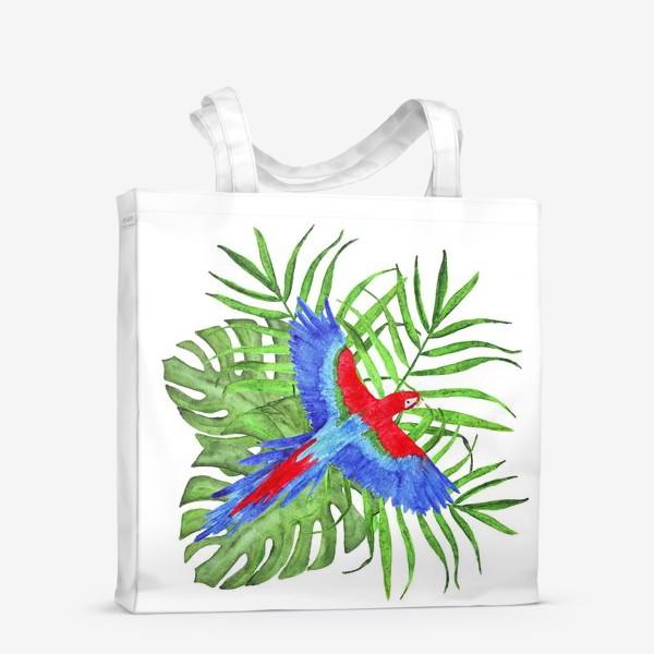 Сумка-шоппер «тропический букет с попугаем ара»