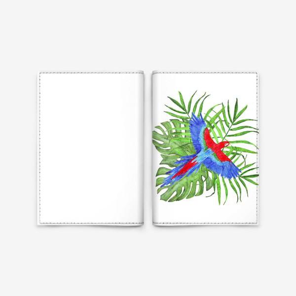 Обложка для паспорта «тропический букет с попугаем ара»