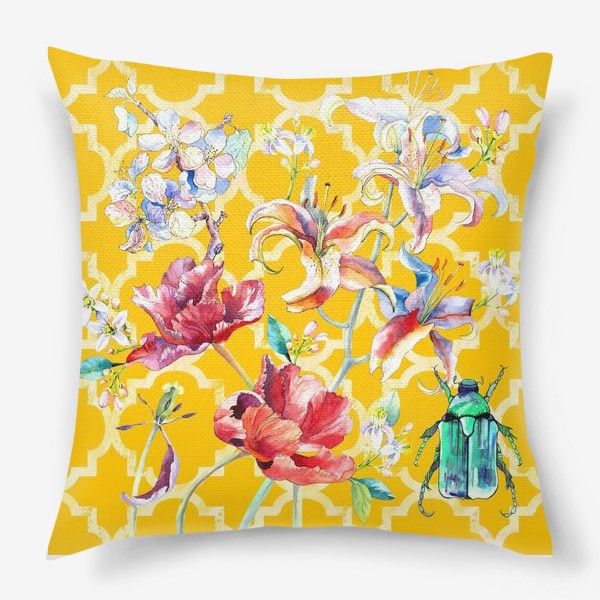 Подушка «Цветочная композиция желтом фоне»