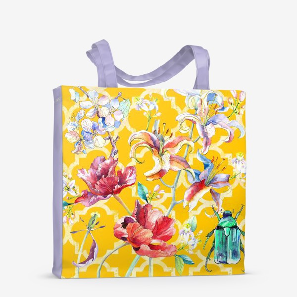Сумка-шоппер «Цветочная композиция желтом фоне»