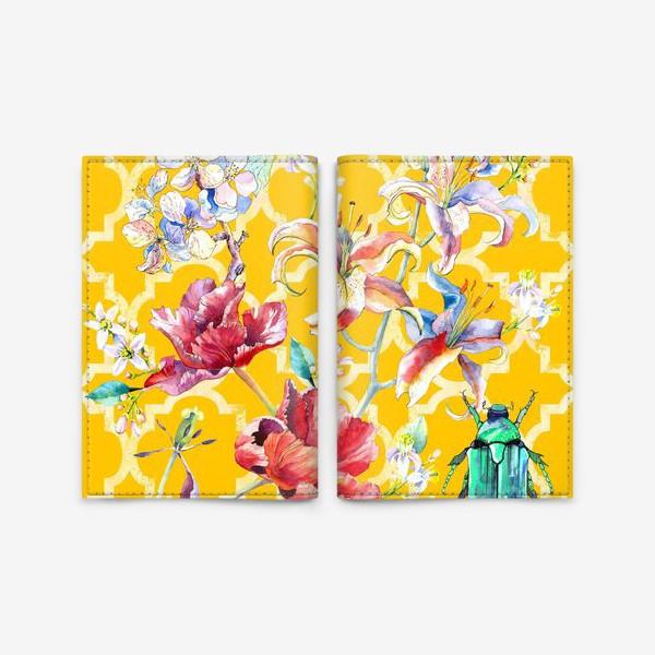 Обложка для паспорта «Цветочная композиция желтом фоне»